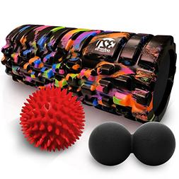 321 STRONG Foam Roller Combo Kit with Double Lacrosse Massag