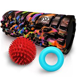321 STRONG Foam Roller Combo Kit with Hand Ring, Grip Balls,