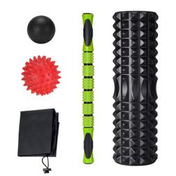 Foam Roller Set + 18'' Muscle Rollers Stick Massage Balls fo