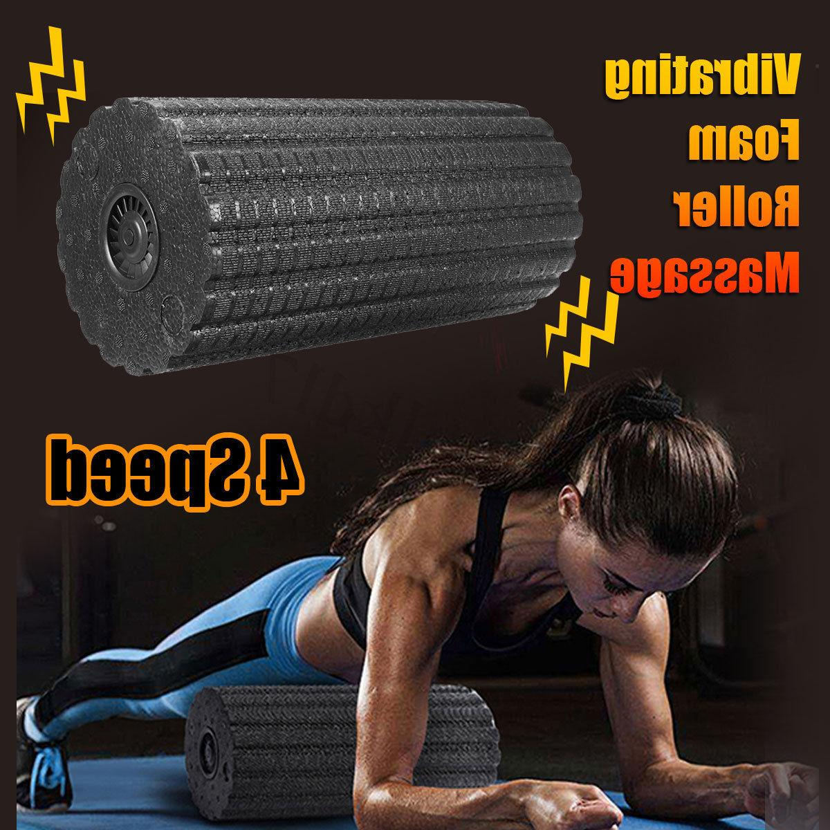 4 Speed Vibrating Foam Roller Body Muscle Relaxed Recove