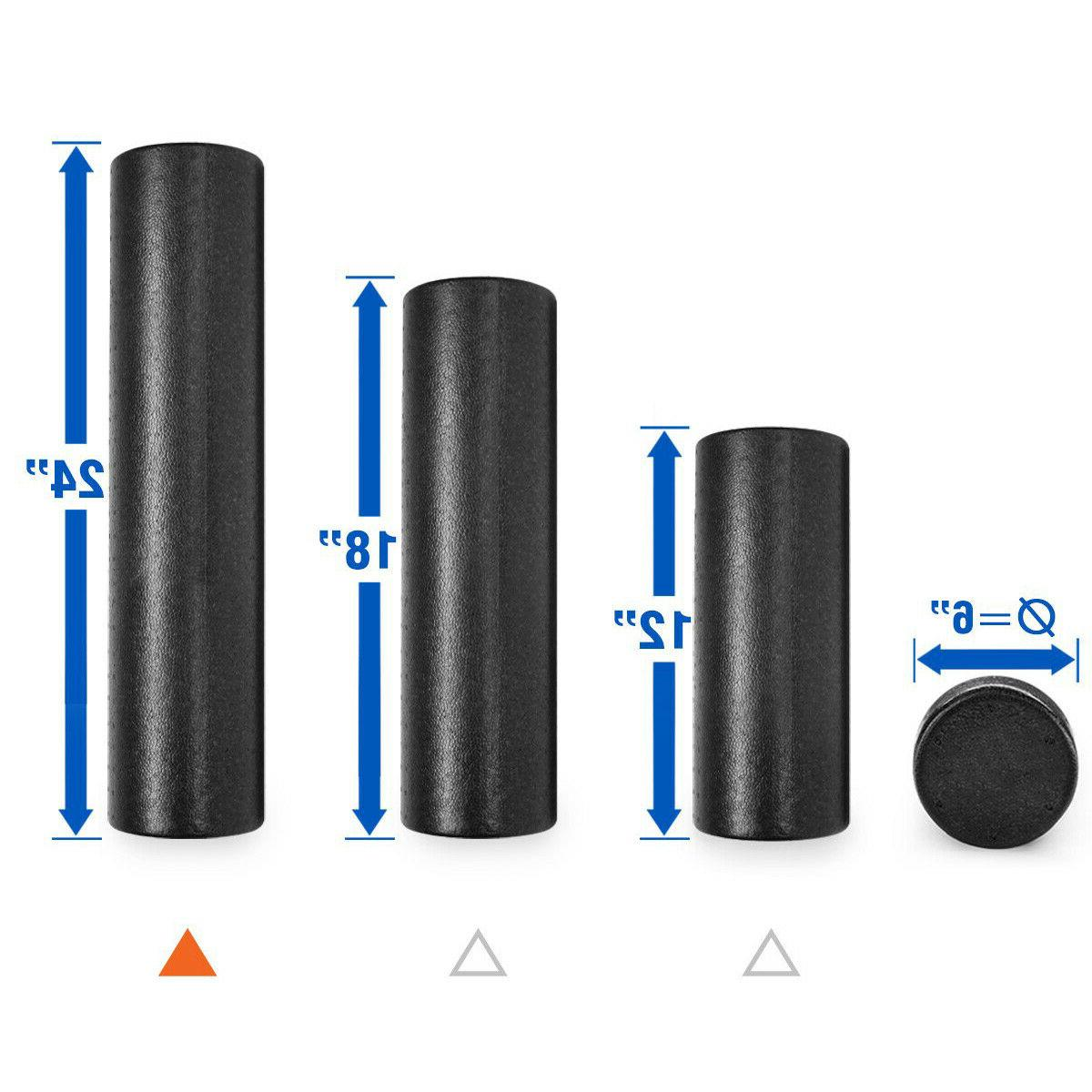 Black Extra Firm Yoga Foam Roller Message Muscle Back Pain T
