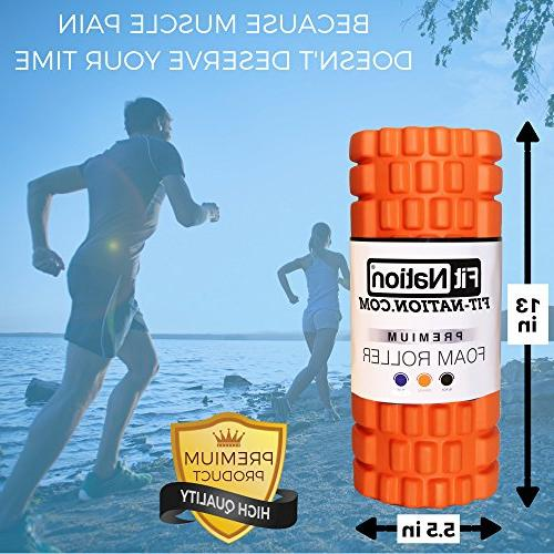 Fit-Nation Foam for Muscle Massage Core Muscle Roller Deep Pain Your Aching Legs and Body. Runner Cyclist Cross Fit