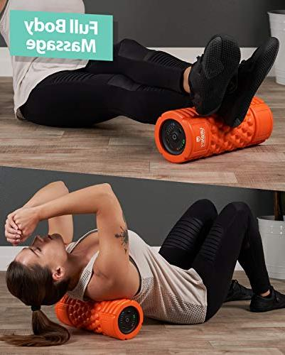Vibrating Foam Roller for Muscle Recovery, Tissue Point Therapy 5 Levels from Low To Intensity Massage -Includes