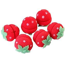 RuiChy 6pcs Lady's Cute Strawberry Hair Care Foam Soft Round