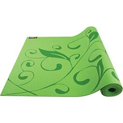 GoFit Pattern Yoga Mat with Yoga Pose Wall Chart, Green